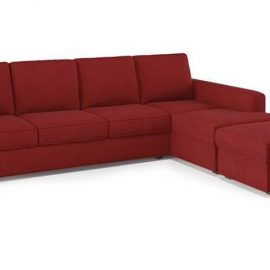 red sectional with table
