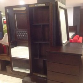 dressing table with standing mirror in l shaped design