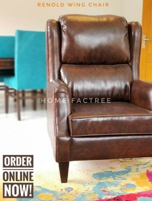 leather brown wing chair