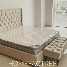tufted bed baige
