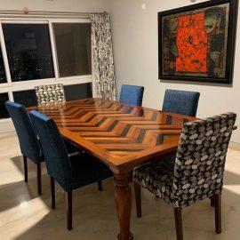 chevron fabric table chair