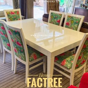 swan dining table with fabric chairs white